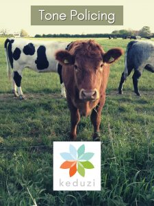 A group of cows, with one brown cow staring straight into the camera with the words Tone Policing and the keduzi logo, which is a colourful flower.