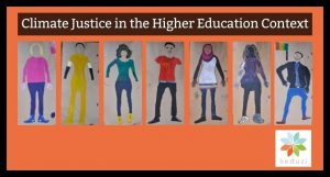 Colourful painted self-portraits of eight young refugees and befrienders. The words above say Climate Justice in the Higher Education Context. Below is the Keduzi logo, which is a colourful flower.