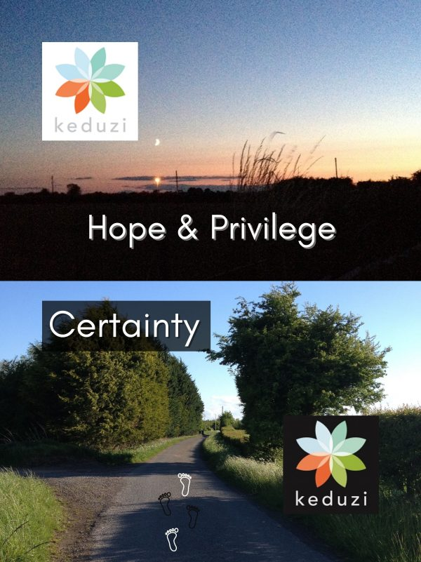 The top image: A sunrise or sunset with clouds and trees. The Keduzi logo, which is a colourful flower, is in the corner. The bottom image: An English road with trees and a blue sky with the word Certainty and the keduzi logo, which is a colourful flower.