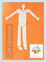 A human made out of pieces of paper with the words Cult Dynamics and the keduzi logo, which is a colourful flower.
