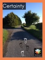 An English road with trees and a blue sky with the word Certainty and the keduzi logo, which is a colourful flower.