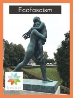 A statue by Gustav Vigeland in Oslo of a female-presenting adult looking fearfully behind her as she carries a younger human in her arms. Over the image is the word Ecofascim and to the left is the Keduzi logo, which is a colourful flower.